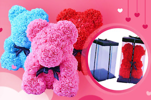 ROSE TEDDY BEAR 25CM & 40CM VALENTINES DAY ALL OCCASIONS WITH GIFT BOX