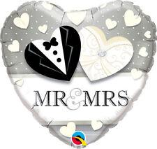 "18"" Mr + Mrs Foil Heart Helium Balloon Black Silver Ivory Wedding Decoration"