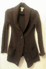 Arizona Jeans Co Womens Sweater S Cardigan Semi Button Up Low Neck Brown
