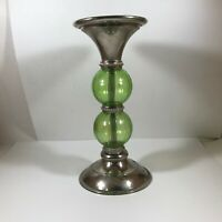 Kohls Green Glass Pedestal Candle Holder