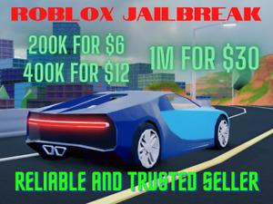 Roblox Jailbreak 200k to 1 million money trusted seller