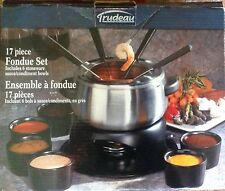trudeau 17 Piece Stainless Steel Fondue Set Six  forks Six  Stoneware bowls