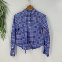 J.Crew Womens Button Down Shirt Size Small S Blue Gingham Plaid Top Tie Front