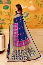 Bollywood Sari Women Special Wear Indian Wear Designer Sari Lichi Cotton A 48-2