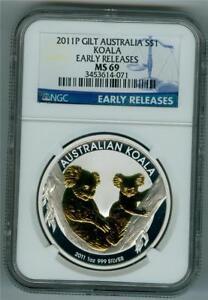 AUSTRALIA 2011-P $1 .999 1 OZ. SILVER GILT KOALA BEAR NGC MS-69 GEM BU