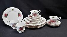 Royal Albert Prairie Rose England Bone China Set of 4 Five Piece Place Settings