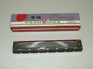 "Vintage 1960's Blessing Harmonica 6"" with Original  Box , NOS Unused"