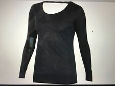 Ibex womens merino long sleeve Videria scoop back top Nwt small black