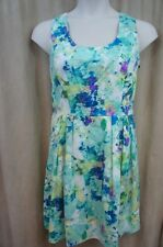 Calvin Klein Dress sz 14 Blue Multi Color Floral Sleeveless A Line Evening Dress