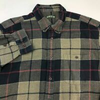 Orvis Button Up Shirt Men' 2XL XXL Long Sleeve Multi-Check Flannel Casual Cotton