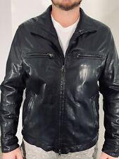 Boss Hugo Boss Mens Coat Black Motor biker Goat Leather Zip Jacket $695 42R 52 L