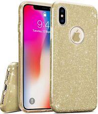 COVER Custodia Glitter Morbida Silicone GEL per Apple iPhone X Oro