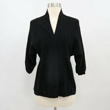 Only Mine Cashmere Cardigan Sweater Womens S Small Open Front Fitted Black 2-Ply
