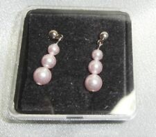 FASHION JEWELLERY PIERCED STUD EARRINGS LIGHT PINK PEARLS NEW BOXED