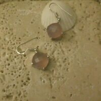 925 Sterling Silver ROSE QUARTZ Dangle Earrings A Great Gift Idea!