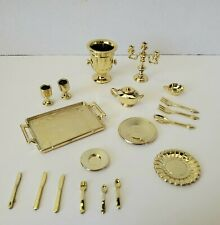 Barbie GOLD SILVERWARE DISHES PITCHERS GLASSES CANDLE Little Accessories Food