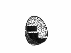 Wicker Hanging Egg Chair without Stand Swing Seat Black PE Rattan Alatri