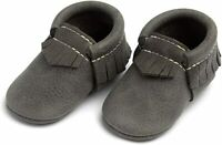 Freshly Picked Baby Blue Spruce Gray Leather Slip On Moccasins Shoes US 2