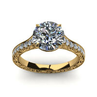 0.75 Carat Round Cut Diamond Engagement Ring 14K Solid Yellow Gold Size 5