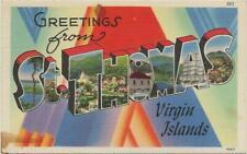 Large Letter Linen Era ST THOMAS VIRGIN ISLANDS old Postcard (stains) Z