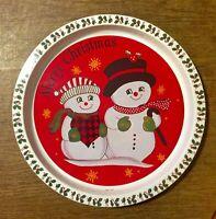 """Vintage 12 3/4"""" Round Metal Tin Christmas Serving Tray Snowmen Kitsch"""