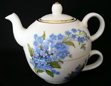 Sheltonian~BONE CHINA~England~TEA WARMER POT SET~Blue~FORGET ME KNOTS~TEAPOT~CUP