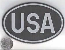 LARGE OVAL BLACK USA COUNTRY BADGE -  US UNITED STATES FLAG - FREE SHIP!