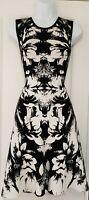 Womens Karen Millen Black White Jacquard Floral Heavy Knit Fit And Flare Dress M