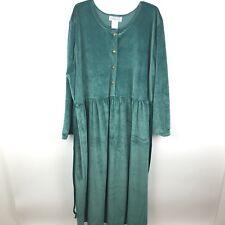 Village Fair Womens Size 24 Green Velvet Button Up Tie Waist Formal Long Dress