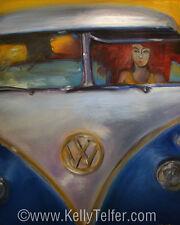 "'Redhead Deadhead in 1960's VW Bus' Volkswagen 16"" x 20"" Print by Kelly Telfer"