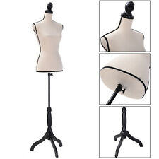 Beige Female Mannequin Torso Clothing Dress Display W/ Black Tripod Stand New