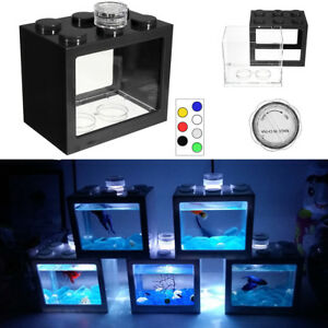 Claro Mini Pecera Fish Tank Acuario LED Light Escritorio Oficina Decoracion !