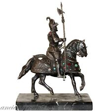HUGE 1393 gr SILVER STATUE DON QUIXOTE-HORSE WITH ORIGINAL DIAMONDS , RUBIES