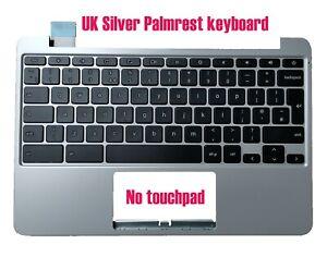 UK Silver Palmrest keyboard for Asus Chromebook C201P C201PA 90NL0912-R31UK0