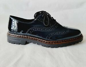 Rieker Ladies Lace Up Brogues Navy Blue Patent 54812-45 Uk 6 New