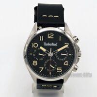 Men's Timberland Barlett Black Leather Band Black Dial Watch TBL14844JS/02