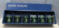 Vintage Set Of 6 Dansk Designs IHQ Green Glass Candle Holders Votive With Box