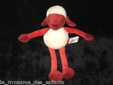 Doudou Mouton Agneau rouge bordeaux blanc Marèse 28 cm