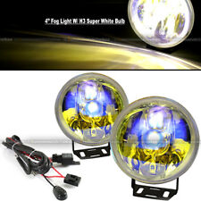 "For Mustang 4"" Round Ion Yellow Bumper Driving Fog Light Lamp Kit Complete Set"