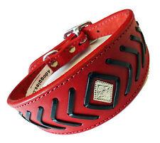 14 - 17 pouces FB rouge noir Greyhound saluki, afghan chien collier rembourré en daim