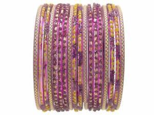 2.12 XL Purple Gold Glass Sari Bangles Indian Bollywood Jewelry Bracelet Set