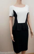 New M&S Secret Support Jersey Black & Cream Peplum Shift Dress Sz UK 16