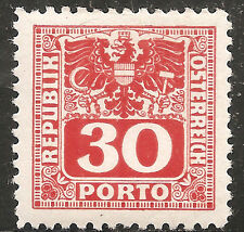 Austria Postage Due Stamp - Scott #J183/D15 30g Vermillion OG Mint/LH 1945