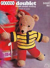 """VINTAGE~TEDDY BEAR~CLOTHES~DOUBLE DOUBLE  KNITTING PATTERN~SIZE HEIGHT16"""" (B64)"""