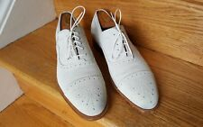 SALVATORE FERRAGAMO 9 EE  SUEDE LEATHER CAP TOE OXFORD SHOES MADE IN ITALY