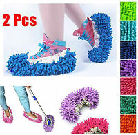 NEW WASHABLE MICROFIBER & CORAL VELCRO MOP SLIPPERS FLOOR POLISHER DUST REMOVER