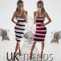 UK Womens Strappy Bodycon Striped Holiday Summer Ladies Midi Dress Size 6-14