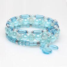 Aqua Beaded Wrap Bracelet, Memory Wire Bracelet, Sparkly, Easy Wear, One Size