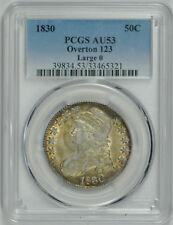 1830 Capped Bust Half Dollar Large 0, Overton 123 AU 53 PCGS