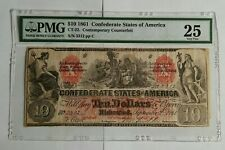 1861 Confederate States of America 10 Dollar Counterfeit Note Pmg25 Very Fine